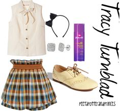 """Tracy Turnblad"" by peetapotterandprinces on Polyvore  Because, let's just admit it -- we all love Tracy <3 I don't do white shoes, but the shirt and the skirt are so perffff, I can't refuse them!"