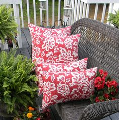 Wicker Cushion and Pillow 7 Pc Set - Red and Ivory Stripe Cushions ...