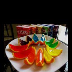 Cut an orange in half, scoop out orange insides, pour in jello mix, slice when ready.  JELLO SHOTTTSSSSS!!!!! sam_shivers