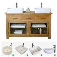 Double Basin Vanity Unit with Oak Bathroom Cabinet | Finesse