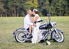 Motorcycle inspired wedding; bride and groom on a Harley