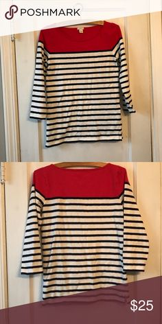J Crew boatneck striped tee J Crew red white and blue boatneck tee. 100% cotton perfect paired with jeans or shorts. Excellent condition hardly worn. J. Crew Tops