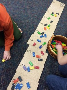 Addition. Make a recording sheet where students write down both sides of dominos as well as the sum.