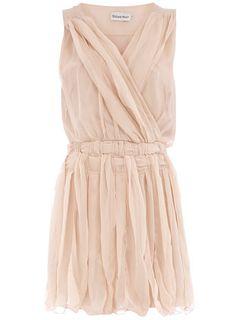 Beige pleat weave waist dress