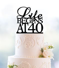 Gold Life Begins At 40 Cake Topper 40th Birthday Party Decor Fortieth Glamour Decoration T089
