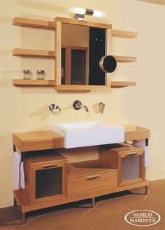 Customized bath vanity in natural wood by Vanico Maronyx / Nu Collection Bathroom Renos, Bathroom Furniture, Master Bathroom, Bathroom Ideas, Bath Vanities, Double Vanity, Natural Wood, Tub, Sink