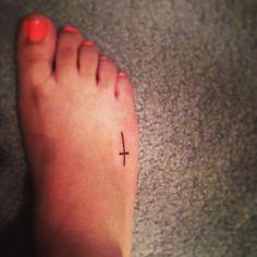 simple cross foot tattoo