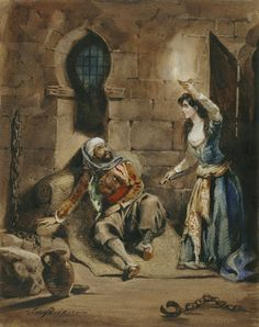 Scene from Lord Byrons Poem the Corsair  by Eugene Delacroix, tells the tale of love and imprisonment between a pirate and a member of the pashas harem Gulnare.