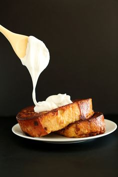 Coconut Cream Pie French Toast with Coconut Whipped Cream! minimalistbaker.com