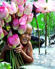 bali, bouquet, lotus, new life, children, rain, flower, water lilies, kid