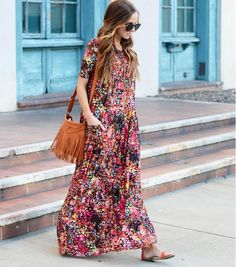Learn how to make this easy-to-sew maxi dress with your choice of fabric and colort!   DIY Spring Maxi Dress Tutorial   Sew Your Own Easy Maxi Dress   DIY by Merrick White