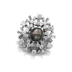 Natural pearl and diamond brooch, 'Snowflake', Bulgari, 1950s | Lot | Sotheby's