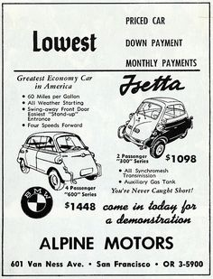 Bmw Isetta, Microcar, Bmw Classic Cars, Retro Advertising, Car Posters, Old Ads, Small Cars, Bmw Cars, Automotive Design
