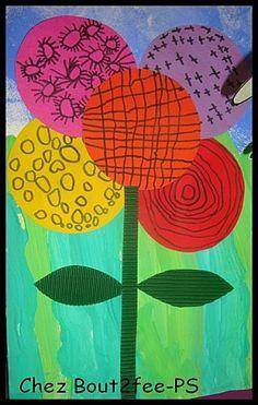 Une fleur réalisée par mes petites sections faite uniquement avec des ronds découpés par mon atsem. Ils ont réalisé un graphisme dans chaque rond ( rond, quadrillage, soleil, croix) Ils ont ensuite collé leurs 5 ronds ( positionnés par l'adulte), sur la peinture du soleil (article Soleil 8 )