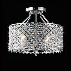 With this Chrome & Crystal 4 Light Round Ceiling Chandelier you can add an elegant touch to your home. This four-light fixture features glittering crystals and a sleek chrome finish. Flush Mount Chandelier, Chandelier For Sale, Ceiling Chandelier, Pendant Chandelier, Ceiling Decor, Ceiling Fixtures, Light Fixtures, Ceiling Lights, Chandeliers