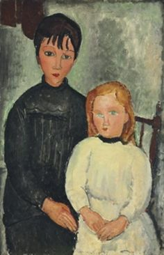 """Amedeo Modigliani (Italian, 1884 - Two Girls (Les deux filles), 1918 Oil on canvas "" Amedeo Modigliani, Modigliani Paintings, Oil Paintings, Italian Painters, Italian Artist, Painting Of Girl, Painting & Drawing, Painting Clouds, Painting Abstract"