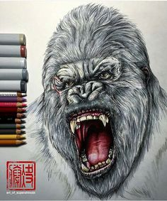Pencil/marker drawing by . Gorilla Tattoo, Realistic Drawings, Cool Drawings, Pencil Drawings, Black Pen Sketches, Drawing Sketches, King Kong, Giant Monster Movies, Monkey Tattoos