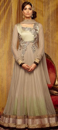 Mughal Empire inspired #anarkali for the BRIDE. #beige #gold #ombre #mughal #embroidery #partywear