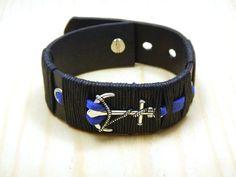 Blck leather bracelet Anchor leather bracelet by RozaBracelets