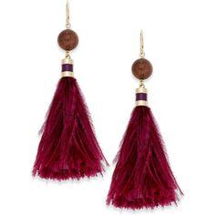 kate spade new york Gold-Tone Silk Tassel Earrings (3 280 UAH) ❤ liked on Polyvore featuring jewelry, earrings, purple multi, purple jewelry, colored gold jewelry, polish jewelry, earring jewelry and tassel earrings