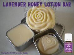 Lavender Honey Lotion Bar • 2 tablespoons beeswax • 4 tablespoons coconut oil • 1 tablespoon olive oil • 1 tsp honey • 2-4 drops Young Living Lavender essential oil In a double boiler, melt togethe…
