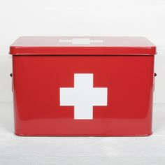 Corinne Medical Box Red - Red Galvanised Metal Medical Box for safe keeping all your pharmaceutical needs.