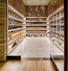 Wine cellar with modern design. Check out the rest of our Dream Cellars board. Wine Cellar Design, Wine Design, Cave A Vin Design, Wine Cellar Basement, Home Wine Cellars, Wine House, Wine Display, Wine Wall, Wine Cabinets