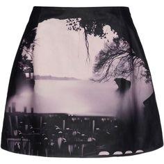MARY KATRANTZOU Leather skirt (1,565 CAD) ❤ liked on Polyvore featuring skirts, mini skirts, bottoms, saias, faldas, pattern skirt, leather zipper skirt, mary katrantzou, leather skirt and print skirt