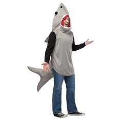 Adult Sand Shark Costume Grey - One Size Fits Most
