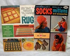 Retro Yarn Craft Books - Knitting Crochet and Weaving Rugs and Accessories - Socks Mittens Hats