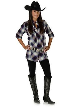 Wrangler Rock 47 Ladies Black, White, Blue, and Red Plaid Long Sleeve Shirt Dress Country Wear, Country Outfits, Country Girls, Cowgirl Western Wear, Western Look, Cowgirl Outfits, Western Outfits, Long Sleeve Shirt Dress, Tunic Shirt