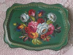 TRAY russian lacquer tray green gold flowers hand by ALVAlike, €70.00 Shorohova