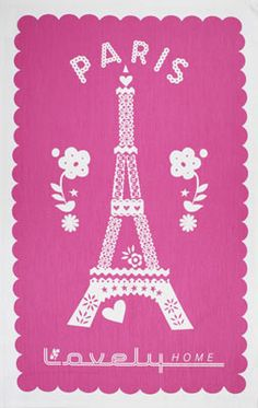 Eiffel Tower Paris Print Tea Towel