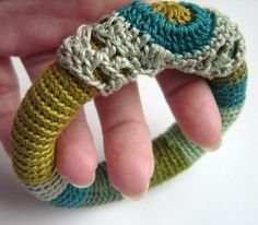 jewelri yarn, craft, crochet bangles, decorating ideas, crochet jewelri, knit, crochet diy, freeform crochet, idea diy