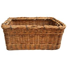 View this item and discover similar for sale at - Sturdy and large woven wicker basket from France, circa Wire wrapped banding at the top and wood strip supports on the base. Modern Bowls, Rattan Basket, Basket Decoration, Decorative Objects, French, Nice, Antiques, Wood, Leather
