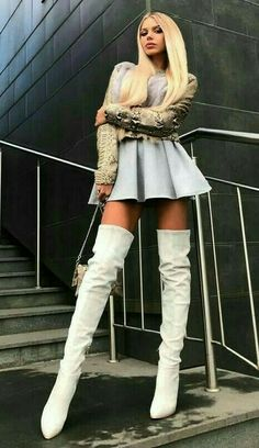 White Boots, Sexy Boots, Thigh High Boots, Knee Boots, Perfect Wife, High Leather Boots, Long Boots, Girly Outfits, City Style