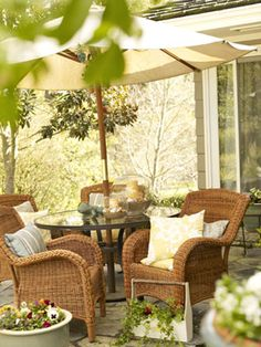 Wicker Furniture- Great Accent - Wicker Home Furniture Outdoor Wicker Furniture, Wicker Chairs, Deck Furniture, Outdoor Decor, Wicker Rocker, Outdoor Stuff, Outdoor Areas, Outside Living, Outdoor Living