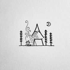 adventure, art, bonfire, camping, drawing, forest, hiking, illustration, moon, tent, wanderlust, woods