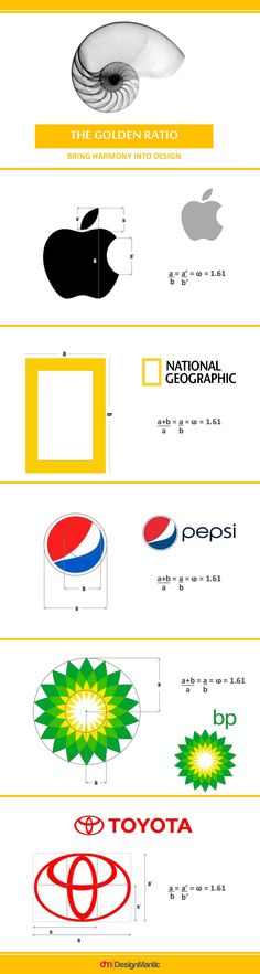 The Golden Ratio is key to aesthetic design. Although many designers today don't rely much on this concept, but it brings finesse and precise balance to logo designs. logo and identity design Golden Ratio in Design Crea Design, Graphic Design Tips, Design Blog, Brand Logo Design, Math Design, Logo Design Tips, Design Concepts, Design Ideas, Brand Design