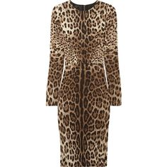 Dolce & Gabbana Leopard-print crepe dress ❤ liked on Polyvore
