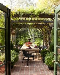 A pergola is a great additional to an outdoor space. Here is pergola design inspiration from e-decor service Decorator in a Box. Outdoor Rooms, Outdoor Dining, Outdoor Gardens, Outdoor Decor, Dining Table, Dining Area, Patio Dining, Dining Room, Dining Sets