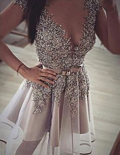 luxurious homecoming dresses, short homecoming dresses, deep v-neck homecoming dresses, beaded homecoming dresses, sash homecoming dresses,417