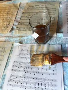 use the same process for newspaper for bulletin boards //Tea Dyed Sheet Music Tutorial...