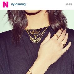 Nylon Magazine is trading out statement pieces for layered gold delicates, all by Shlomit Ofir