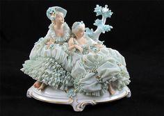 Large Antique Dresden Lace Unterweissbach Figure Group Ladies with Blue Birds   eBay