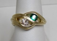 Augusta variant ring with a emerald and diamond by Whitney Robinson. Art Nouveau, Emerald, Gemstone Rings, Designers, Bling, Turquoise, Jewels, Diamond, Fashion