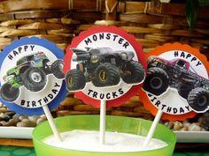 Monster Trucks Cupcake Toppers. $10.00, via Etsy.