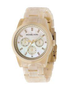 MICHAEL KORS Midsized Chronograph Watch, Golden:Golden bracelet