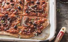 Pissaladiere recipe - This beautiful Pissaladiere is a French take on the classic pizza dish, recreated here by Kate Gibbs, a recipe extracted from her book 'Margaret and Me'. The combination of olives and anchovies simply sublime. Mouth Watering Food, Lunch Recipes, Vegetable Pizza, Cravings, Sandwiches, Food Porn, Vegetarian