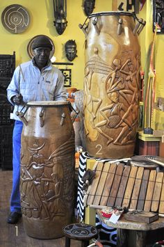 Discover handmade fair trade artwork from Africa, including large sculptures and recycled art. Products are designed in Africa and quality checked in Oregon. Orisha, African Interior Design, African Pottery, African Drum, African Artwork, African Sculptures, Art Africain, Africa Art, Soul Art